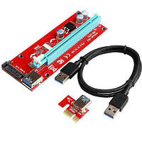 Райзер SATA v007S USB 3.0 PCI-E 1X - 16X Riser для видеокарт 60см PCI express adapter плата расширения прямой