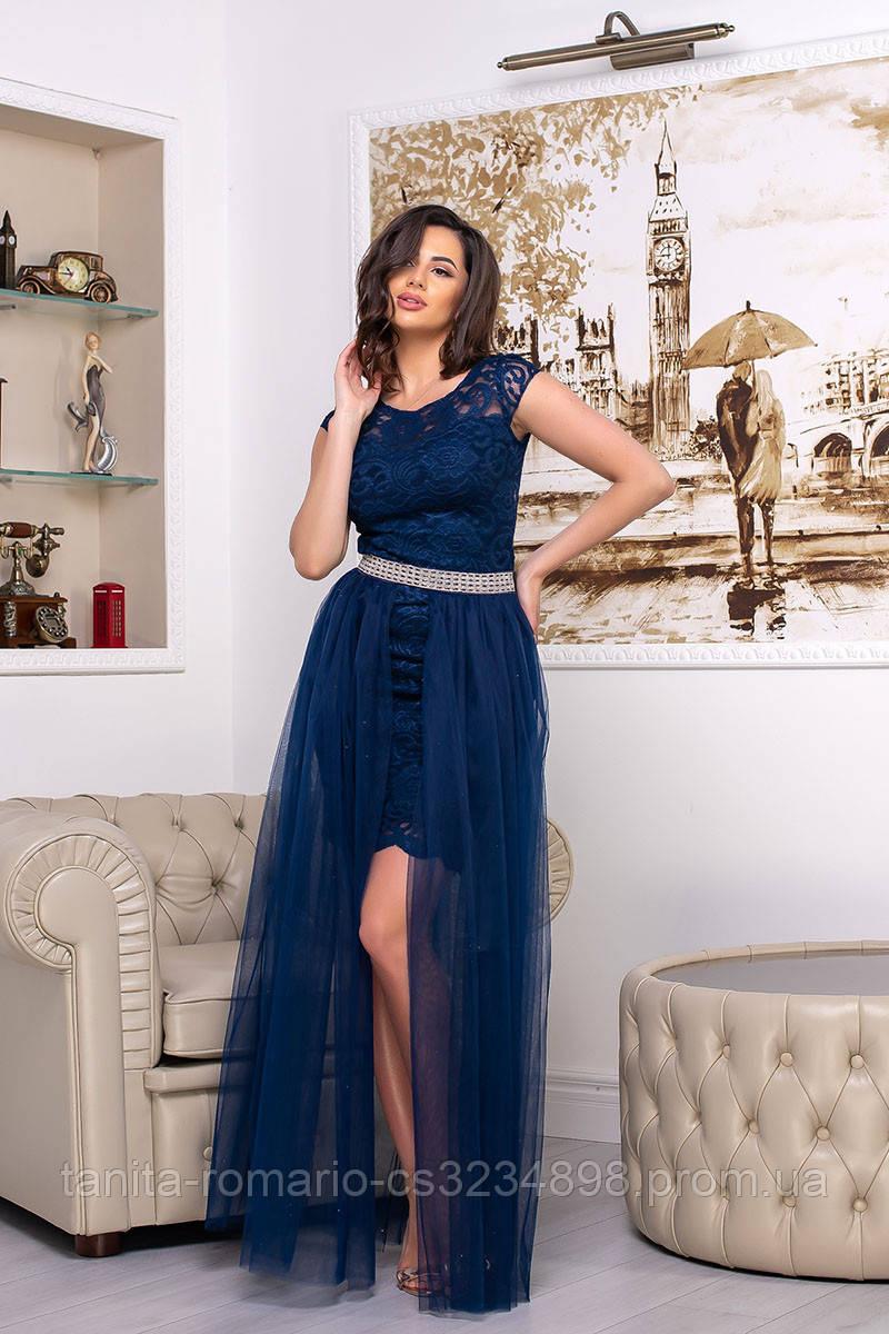 Коктейльное платье 8065e Синий M(р)
