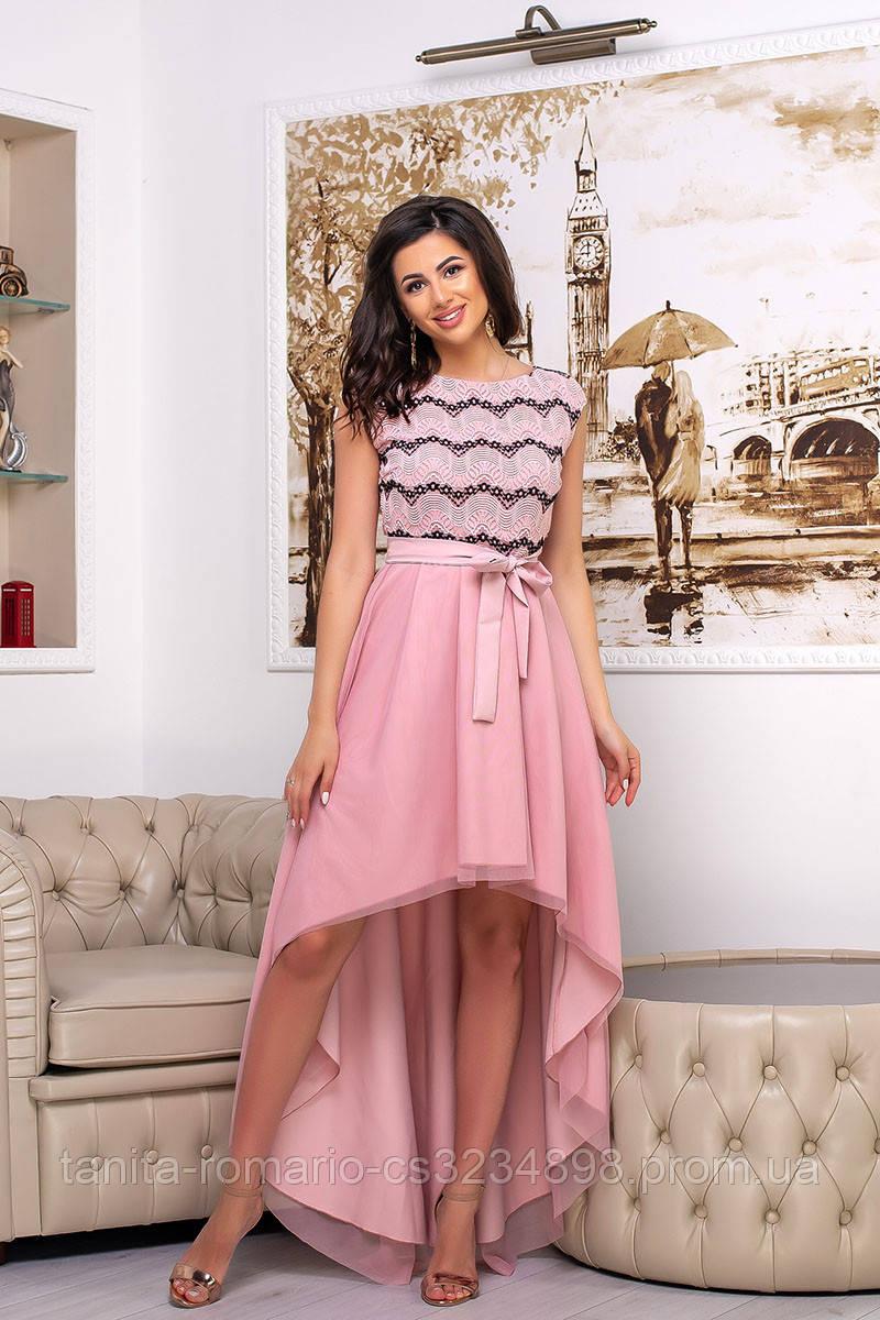 Коктейльное платье 9124e Розовый S M L
