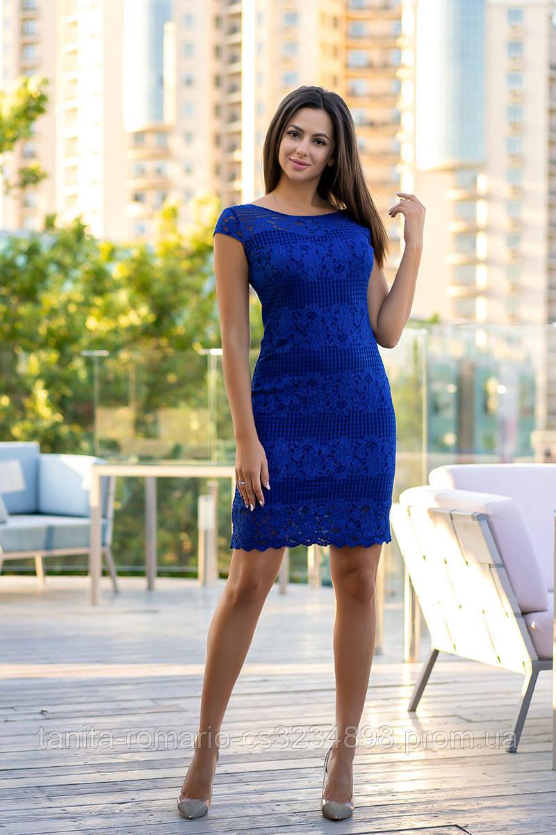 Повседневное платье 7125e Электрик S M L
