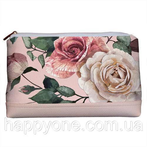 Косметичка дорожная женская «Lovely» Розы на пудровом фоне