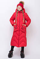 Куртка зимняя для девочки длинная теплая красная, фото 1