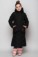 Длинное пальто девочке зимнее теплое с капюшоном черное, фото 1