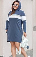 Трикотажное платье больших размеров с капюшоном серое