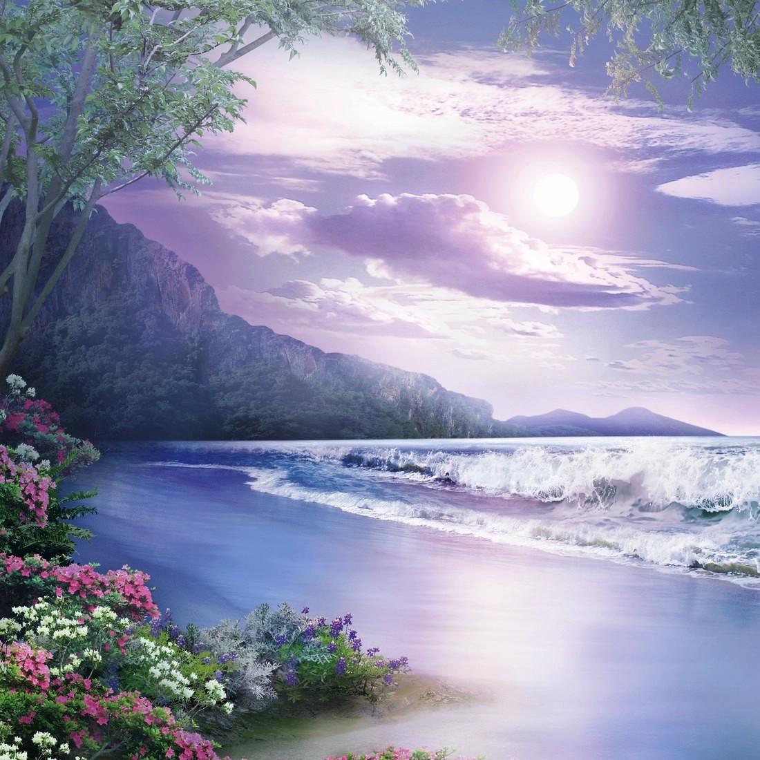 Фотообои,  небо, река, Ночная сказка, 12 листов, 196х210см