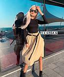 Стильная женская юбка свободного кроя с ремнем 2расцв. 42-46р., фото 2