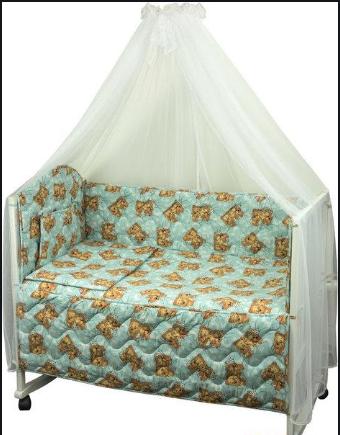 """КПБ в детскую кроватку 60х120 """"Малыш"""" бязь (Голубой) мишки спят, фото 2"""