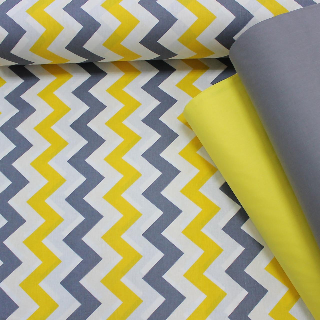 Хлопковая ткань (ТУРЦИЯ шир. 2,4 м) зигзаг желто-графитовый