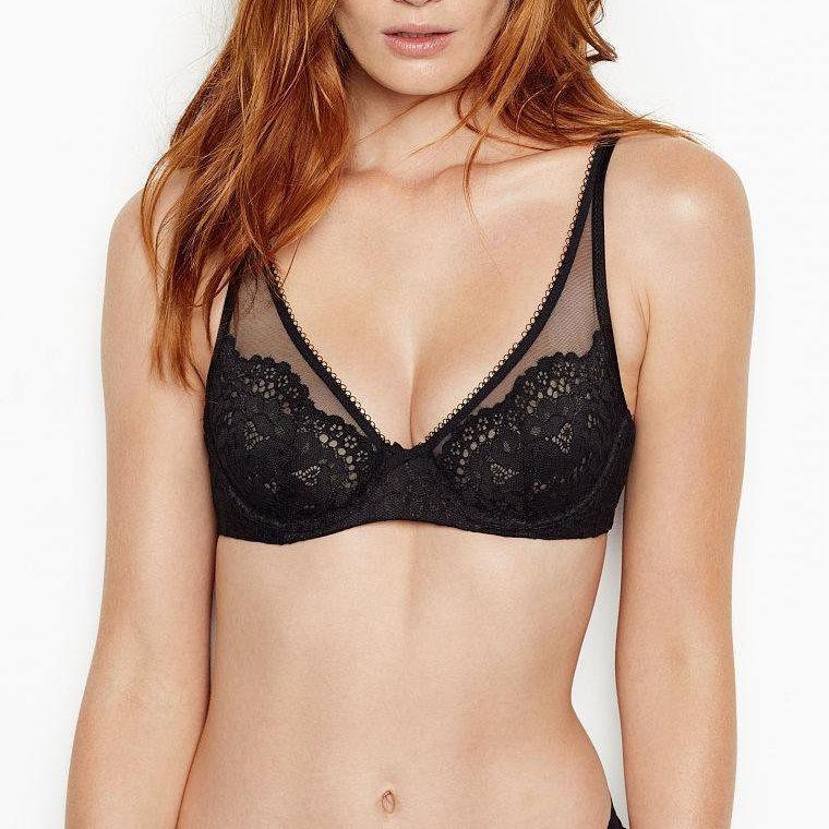 Кружевной Бюстгальтер Victoria's Secret Unlined Demi Bra 85F, Черный