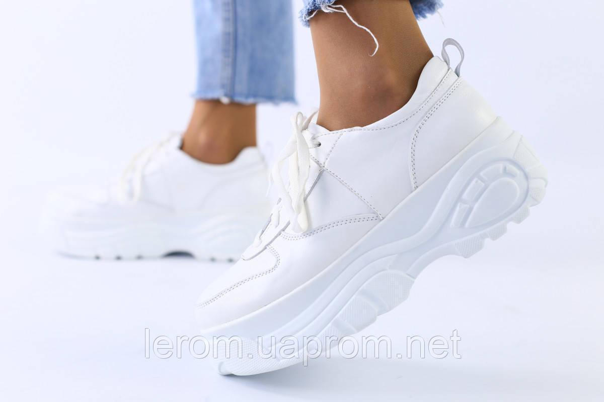 Женские белые кожаные кроссовки 37