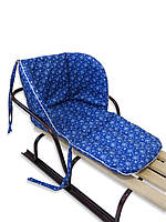 Универсальный матрасик - подстилка для санок DavLu Снежинки на синем