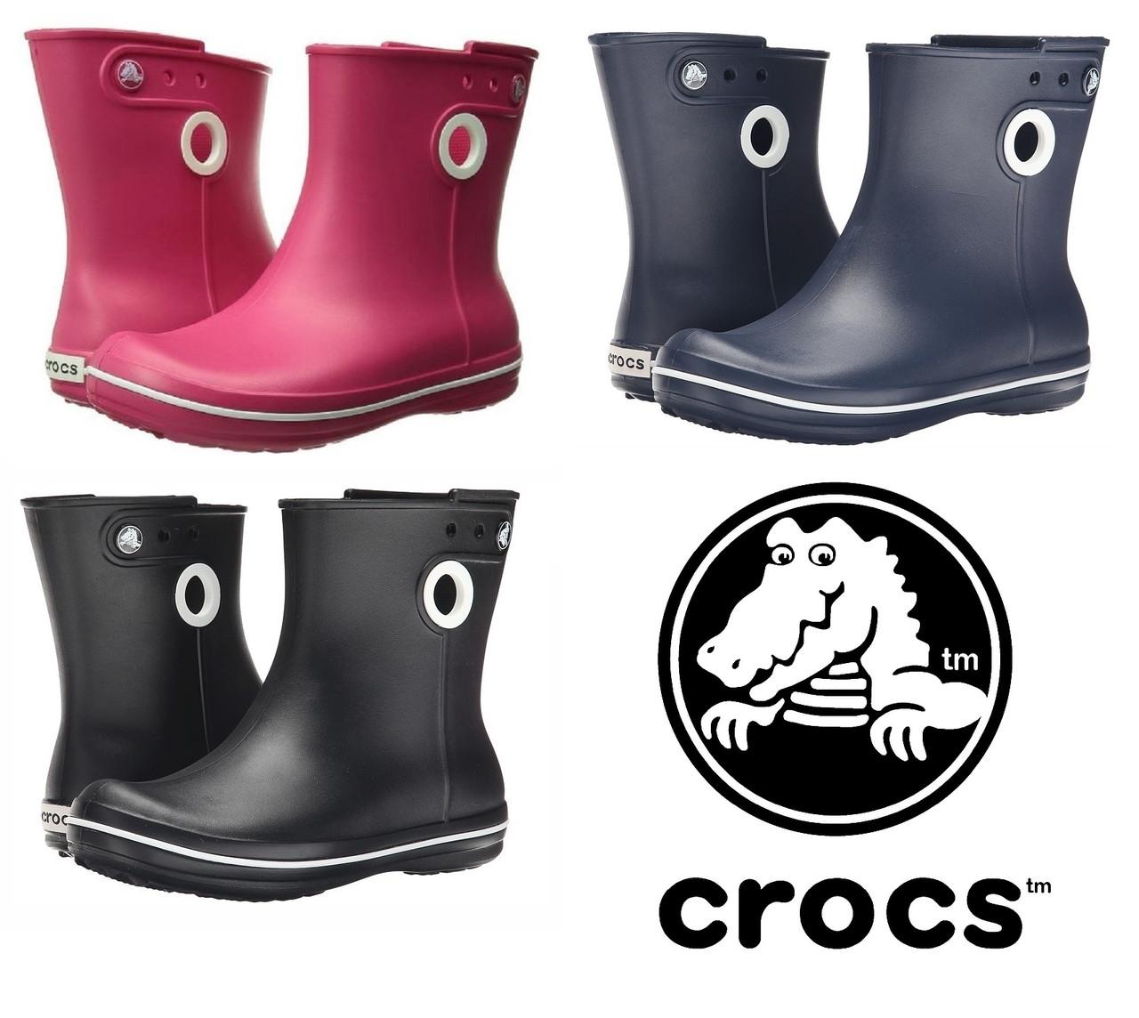 Сапоги резиновые женские короткие с кружочком Crocs Women's Jaunt Shorty Boot / дождевики полусапоги