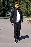 Костюм мужской из костюмной ткани с воротником стойкой в полоску (К28860), фото 1