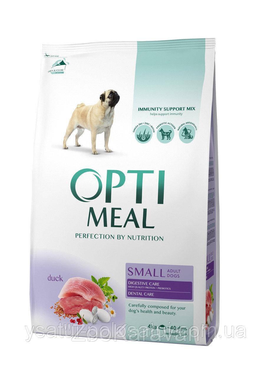 Сухой корм Opti Meal для взрослых собак малых пород (до 10 кг) с уткой, 4 кг
