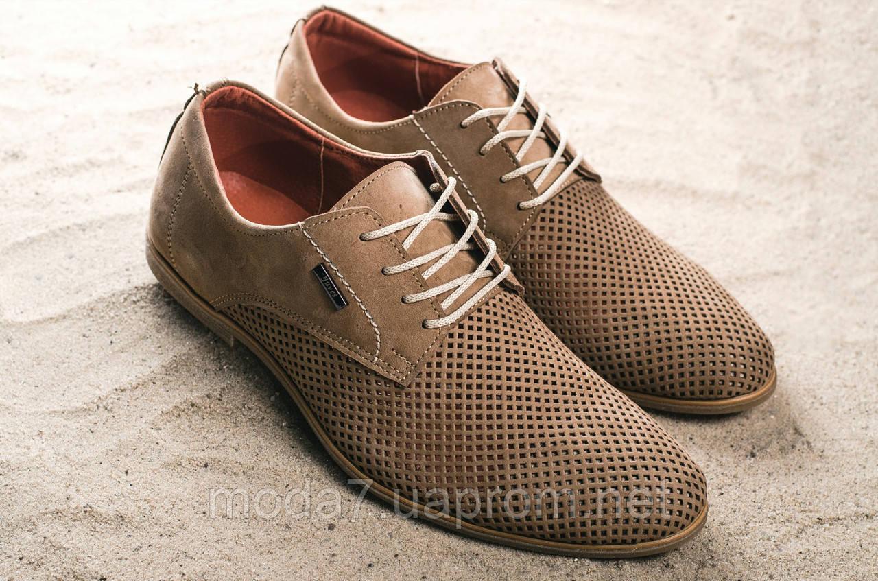 Туфли мужские Yuves M5 бежевые (натуральная кожа, лето)