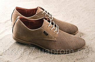 Туфли мужские Yuves M5 бежевые (натуральная кожа, лето), фото 3