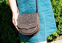 Кожаная женская сумка, мини сумочка, коричневая сумочка, сумка через плечо, шоколад, фото 1
