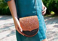 Кожаная женская сумка, сумка через плечо, мини сумочка, коричнево-рыжая, фото 1