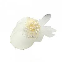 Уточка-бант для волос с сеточкой и тройным цветком 5386