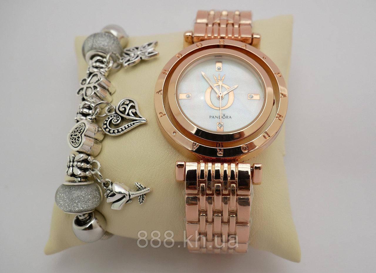 Часы женские Pandora в коробочке (розовое золото/белый)