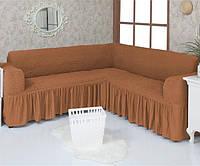 Чехол на угловой диван Venera 02-210 Коричневый с оборокой