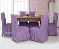 Набор чехлов для стульев Venera 6 шт 05-217 Сиреневый (с оборкой)