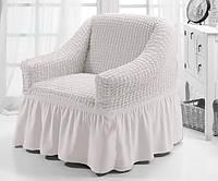 Чехол на кресло Concordia 213 Кремовый (1шт) (с оборкой)