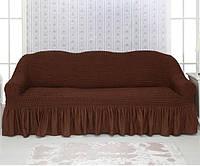 Чехол на диван Venera 04-201 Чёрный шоколад (3-х мест.) с оборкой