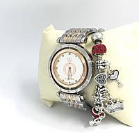 Часы женские Pandora в коробочке (серебро+бронза/белый)