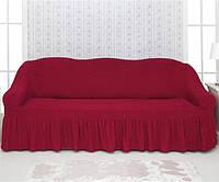Чехол на диван Venera 04-221 Бордовый (3-х мест.) с оборкой
