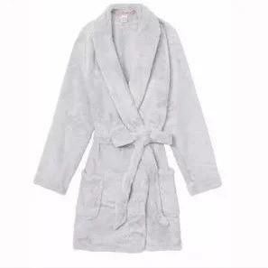 💋 Плюшевый Халат Victoria's Secret Cozy Plush р. XS/S, Серый