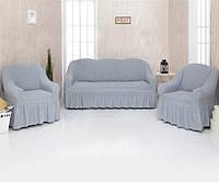Чехол для мебели Venera (3+1+1) 01-216 Серый с оборкой