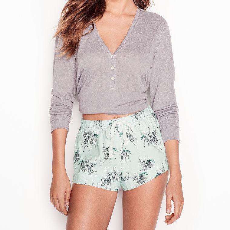 Victoria`s Secret Пижама с Шортами Henley Flannel Short PJ, XS