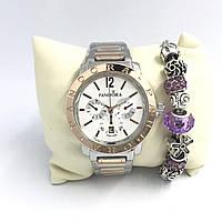 Часы женские Pandora в коробочке (браслет в подарок) (серебро+золото/белый)