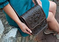 Кожаная женская сумка, шоколадная сумка, сумка через плечо, фото 1