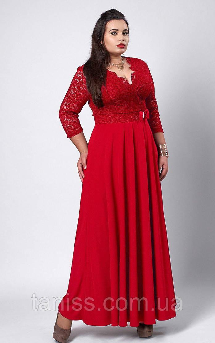 Нарядное платье макси, большого размера, верх гипюр,низ струящаяся ткань, р. 56,58  красный  (531)