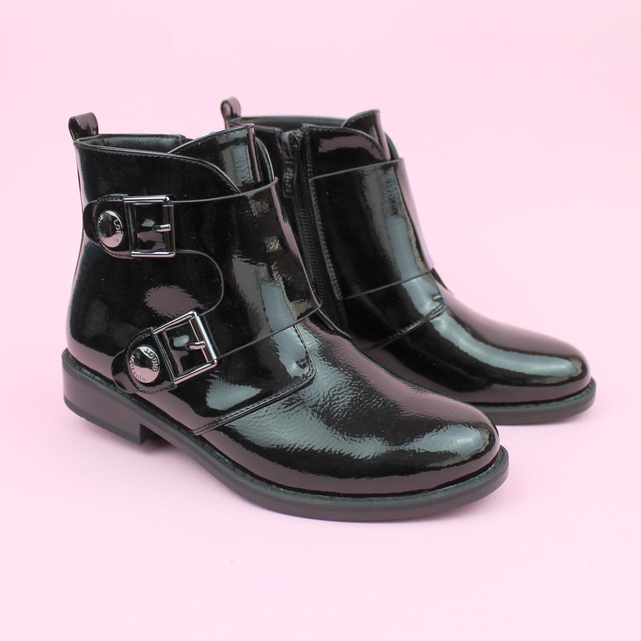 Ботинки демисезонные для девочки лаковые черные тм Bi&Ki размер 37,38