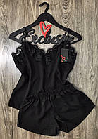 Черная пижама из штапеля майка и шорты, летние пижамы.
