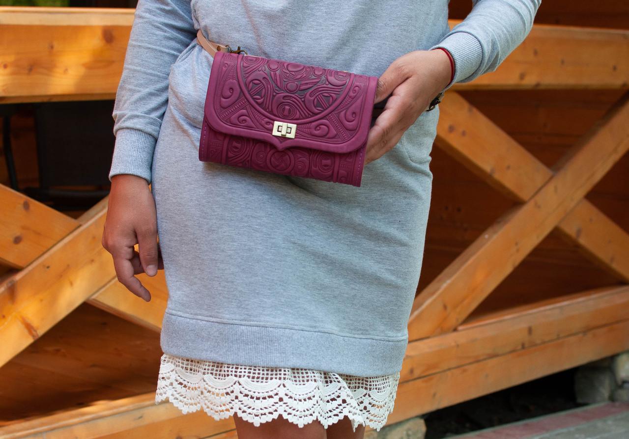 Розовая кожаная сумочка трансформер, сумочка-клатч на плечо/на пояс, фото 1