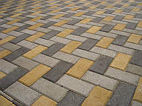 Тротуарная плитка Кирпич 200х100х25, серая, цветная