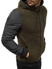 Мужская кофта с капюшоном, оливковый, фото 2
