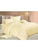 Евро комплект постельного белья Страйп-Сатин Молочный  240х220 см (540507)