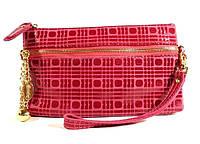 Кошелек-клатч женский кожаный малиновый 614, фото 1