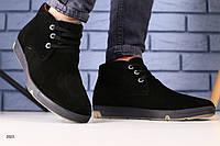 Зимние ботинки черная замша, фото 1