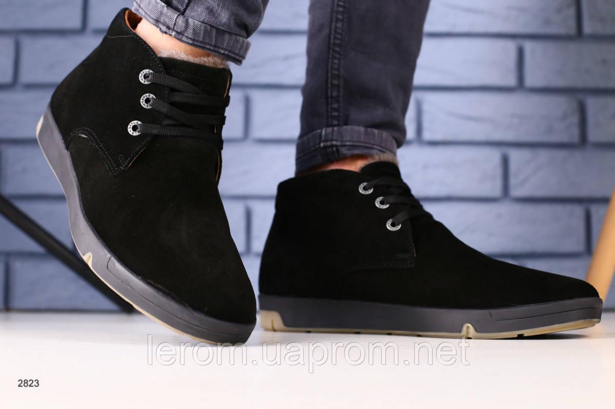 Зимние ботинки черная замша