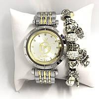 Часы женские Pandora в коробочке (серебро+золото/белый)