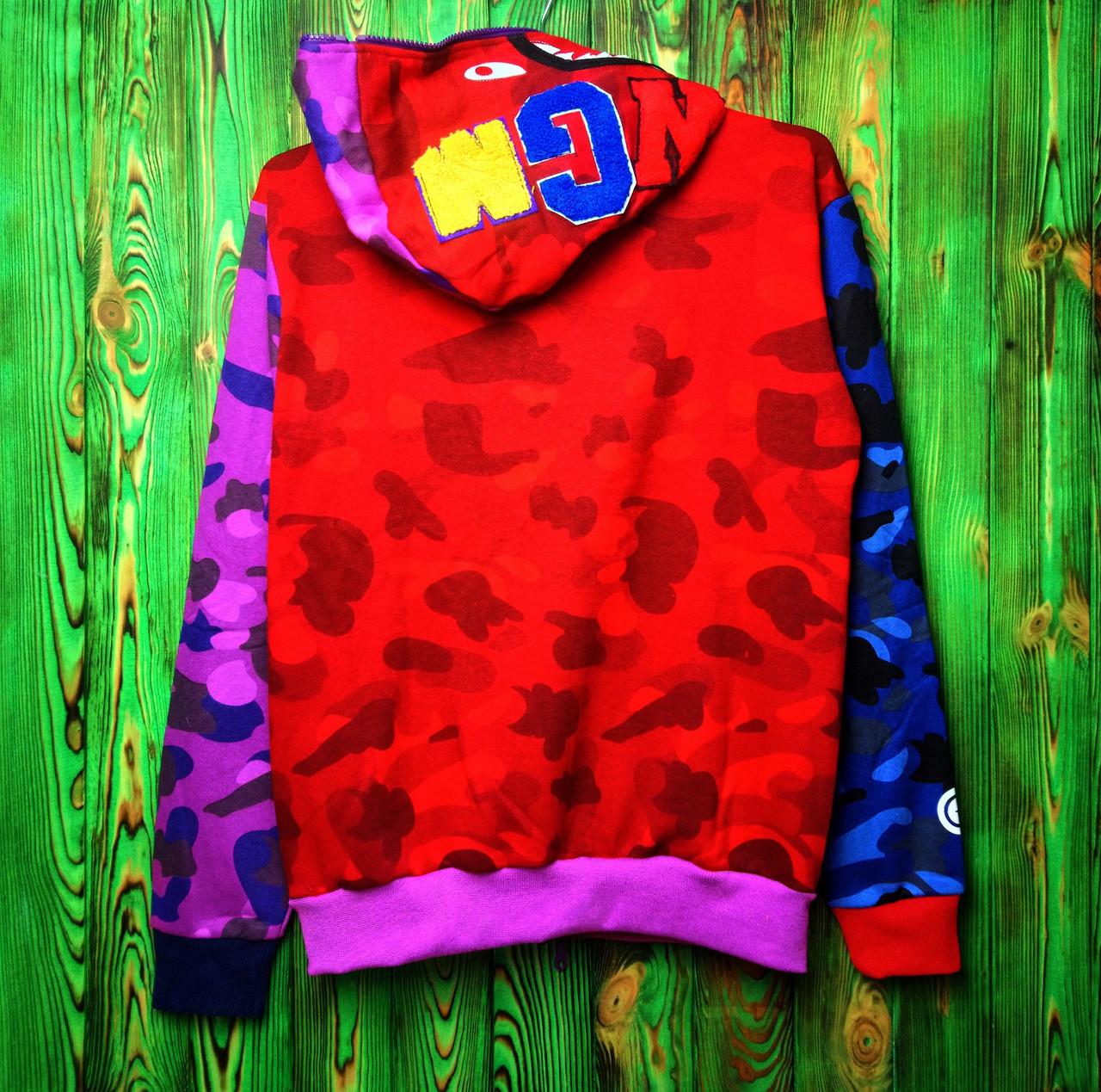 Мужская кофта - Худи в стиле Bape Shark (Разноцветный)