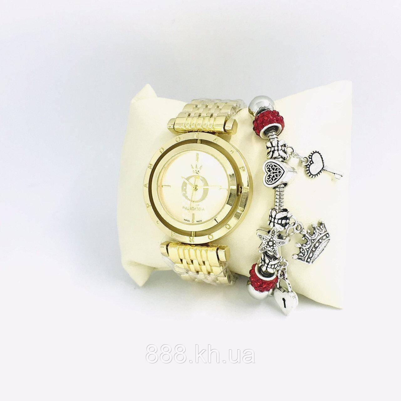 Часы женские Pandora в коробочке (браслет в подарок) (золото/белый)