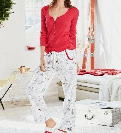 Victoria's Secret Пижама The Dreamer Henley Pajama р. XS, Красная