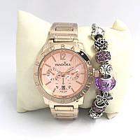 Часы женские Pandora в коробочке (розовое золото/розовый)